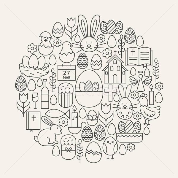 Kellemes húsvétot vonal ikon szett kör forma tavasz Stock fotó © Anna_leni