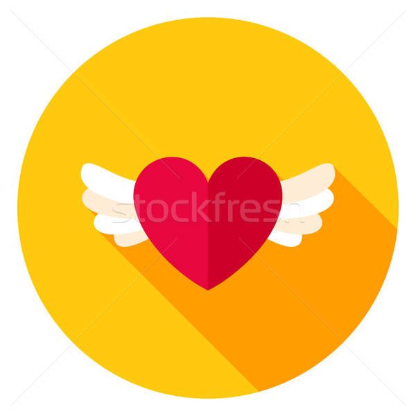 Stock photo: Heart with Wings Circle Icon