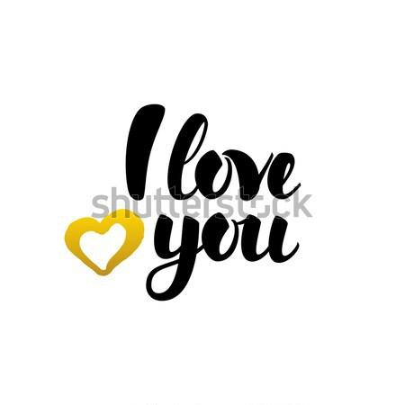 Szeretet kézzel írott kalligráfia Valentin nap nap dizájn elem Stock fotó © Anna_leni