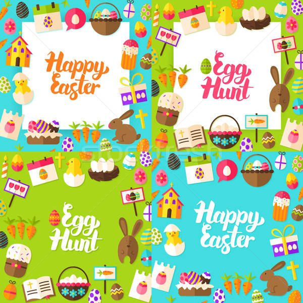 Happy Easter Lettering Postcards Stock photo © Anna_leni