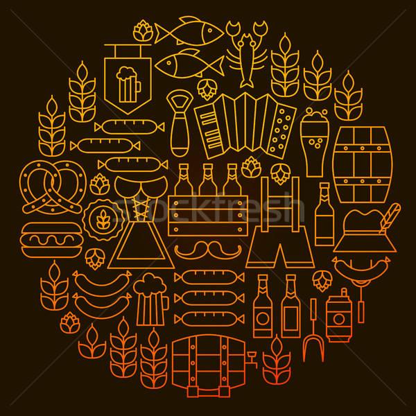 オクトーバーフェスト 行 アイコン サークル アルコール ビール ストックフォト © Anna_leni