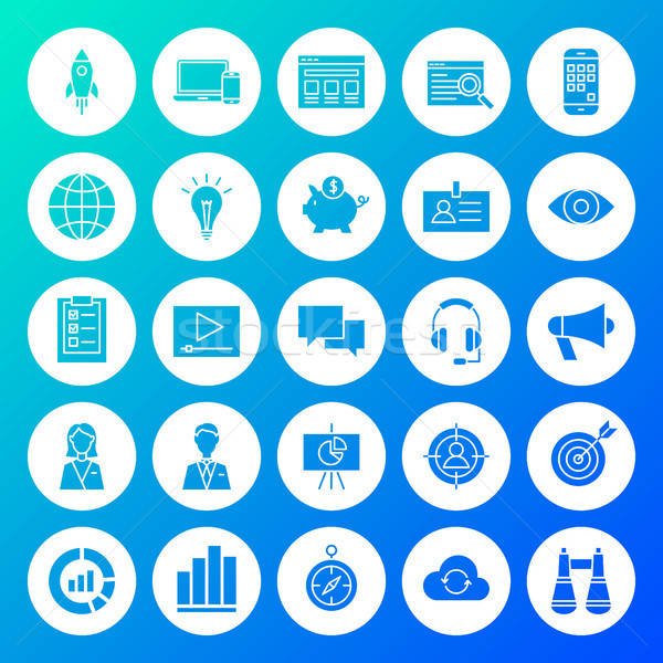 Startup Circle Solid Icons Stock photo © Anna_leni
