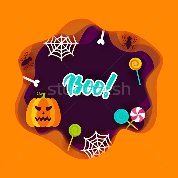 Halloween Boo Papercut Concept Stock photo © Anna_leni