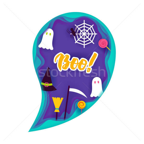 Halloween Ghost Papercut Concept Stock photo © Anna_leni