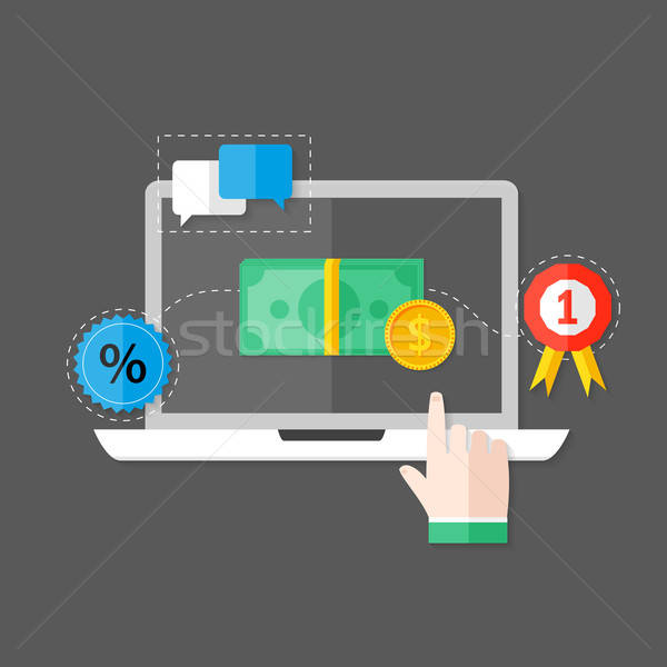 Online Payment Flat Icon over Grey Stock photo © Anna_leni