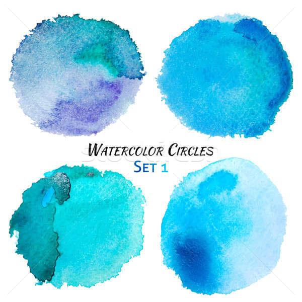 Stockfoto: Aquarel · Blauw · paars · kleurrijk · cirkels · ingesteld