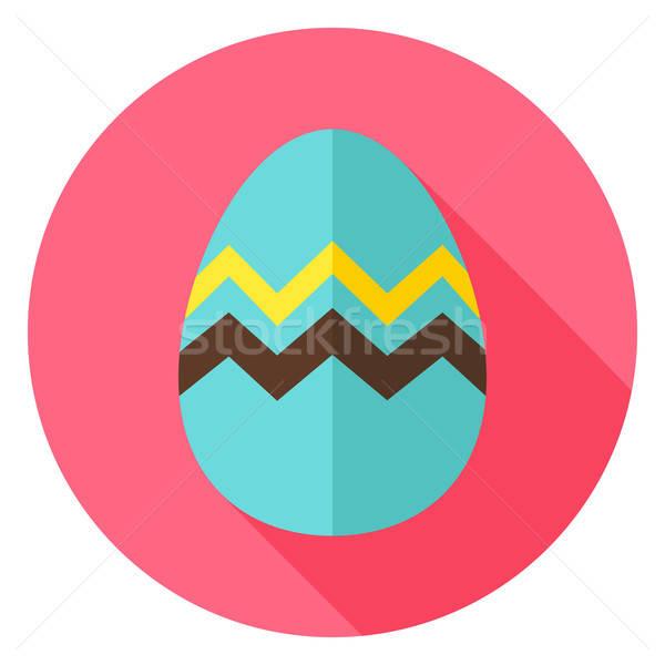Easter egg zikzak daire ikon dizayn uzun Stok fotoğraf © Anna_leni
