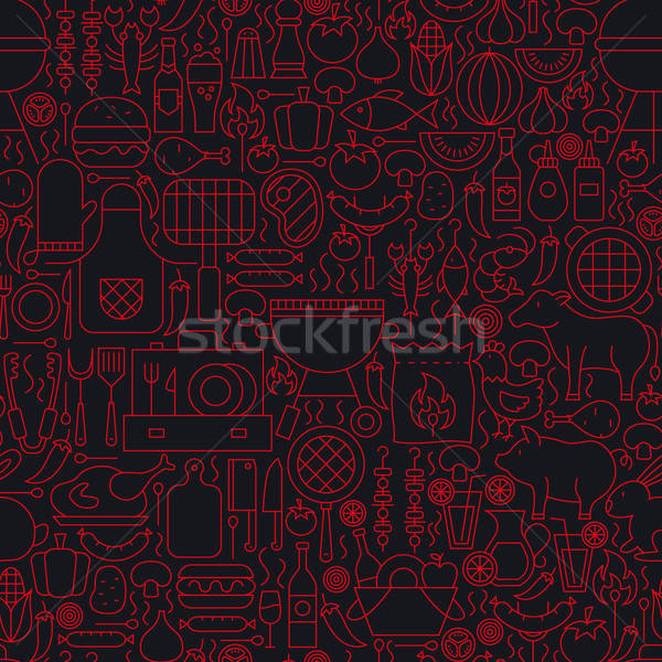 Barbecue Grill Line Seamless Pattern Stock photo © Anna_leni