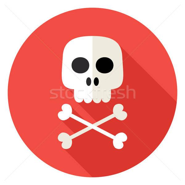 Crânio ossos círculo ícone projeto longo Foto stock © Anna_leni