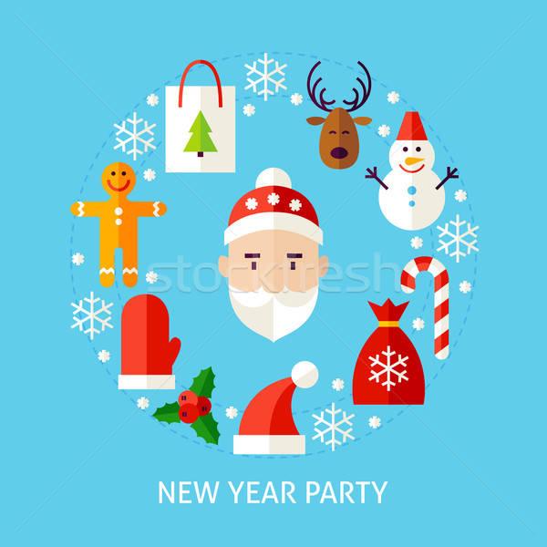 Año nuevo fiesta anunciante diseno colección invierno Foto stock © Anna_leni