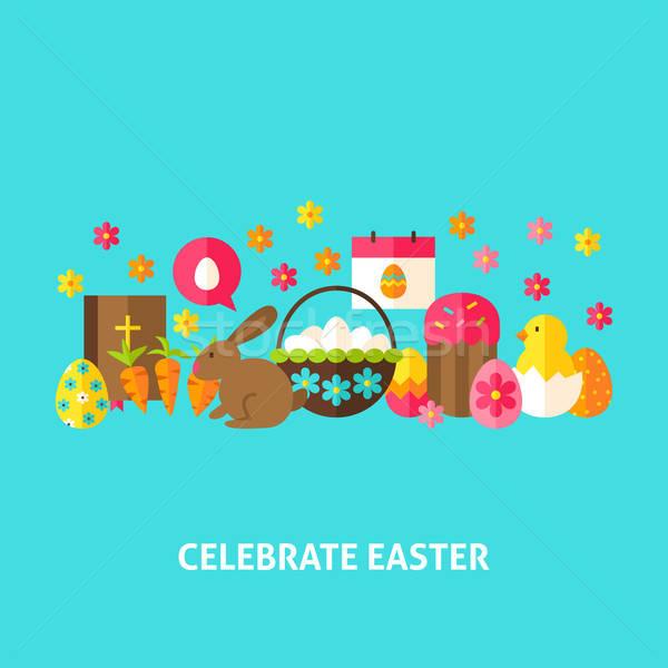 Stockfoto: Vieren · Pasen · wenskaart · ontwerp · voorjaar · vakantie