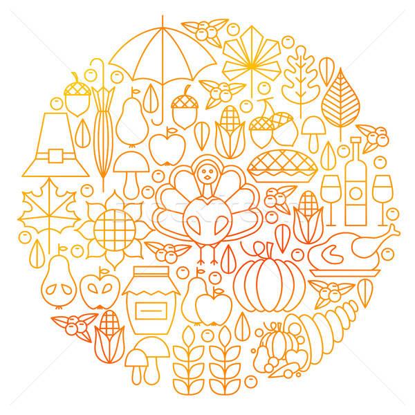 Thanksgiving Day Line Icon Circle Design Stock photo © Anna_leni