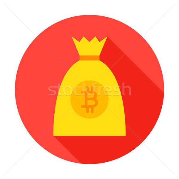 Bitcoin pénz táska kör ikon stílus Stock fotó © Anna_leni