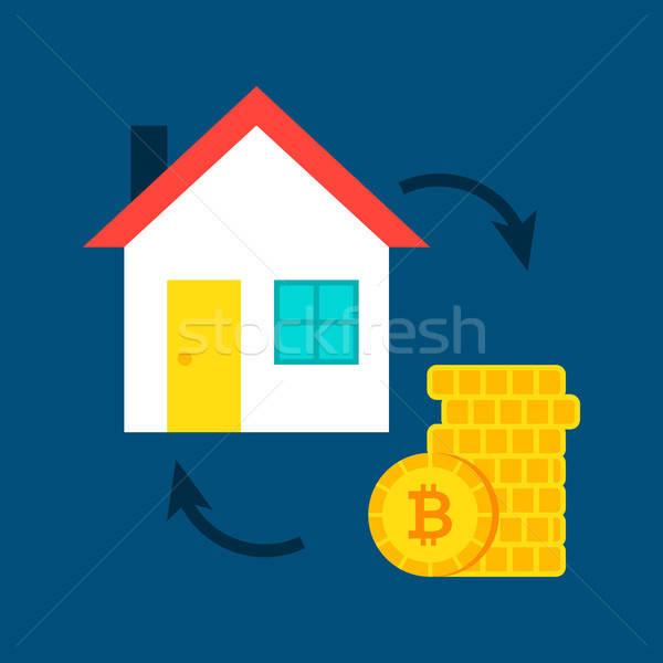 Maison bitcoin achat bâtiment argent technologie Photo stock © Anna_leni