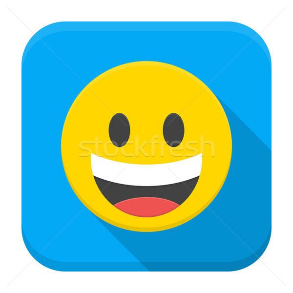 Сток-фото: смеясь · желтый · улыбка · приложение · икона · долго