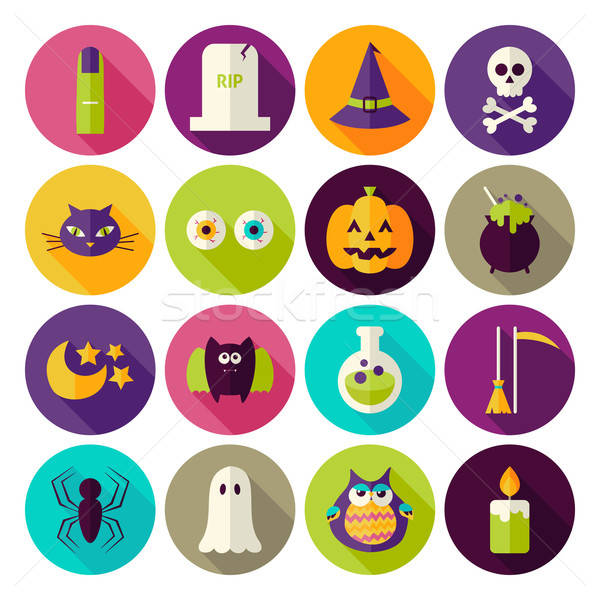 Flat Magic Halloween Witch Circle Icons Set with long Shadow Stock photo © Anna_leni