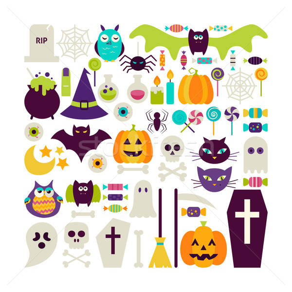 Stock photo: Flat Style Vector Set of Halloween Holidays Objects Isolated ove