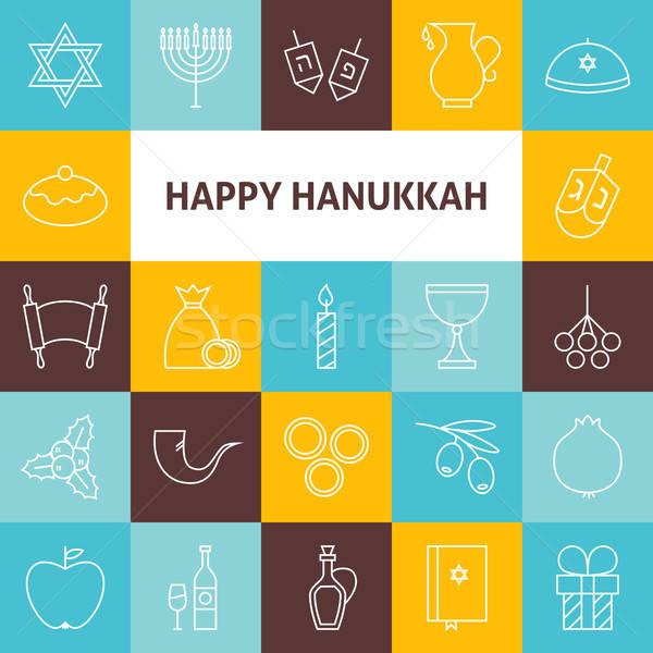 Thin Line Art Happy Hanukkah Jewish Holiday Icons Set Stock photo © Anna_leni