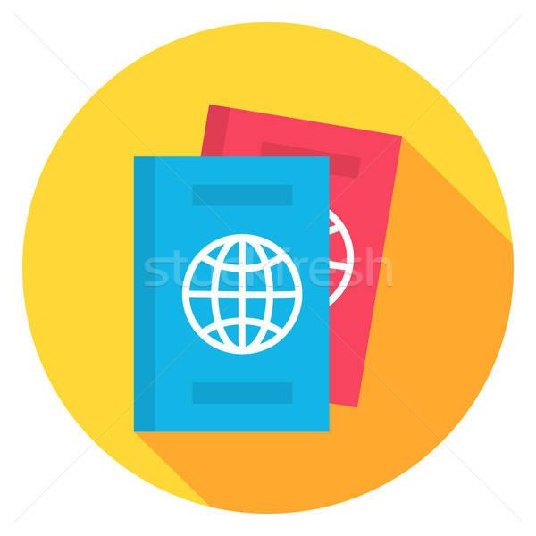документа паспорта круга икона дизайна долго Сток-фото © Anna_leni