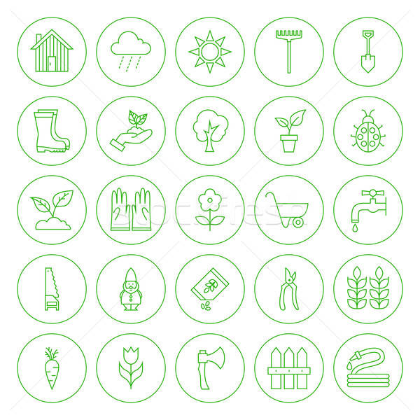 Line Circle Spring Gardening Tools Icons Set Stock photo © Anna_leni