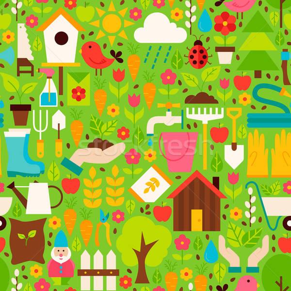 Spring Garden Vector Flat Design Green Seamless Pattern Stock photo © Anna_leni