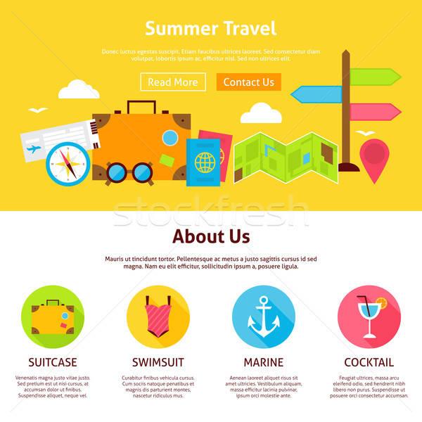 Summer Travel Flat Web Design Template Stock photo © Anna_leni