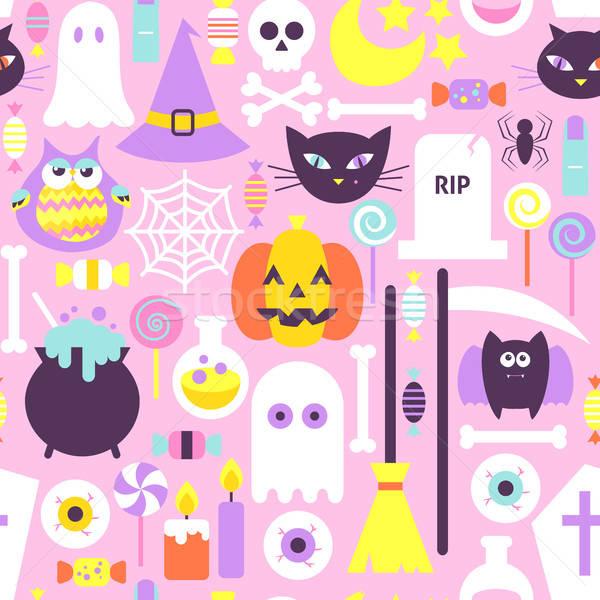 Stock fotó: Trendi · stílus · halloween · végtelen · minta · terv · vektor