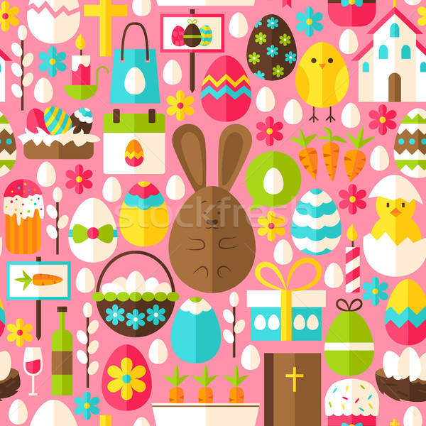 Pink Easter Seamless Pattern Stock photo © Anna_leni