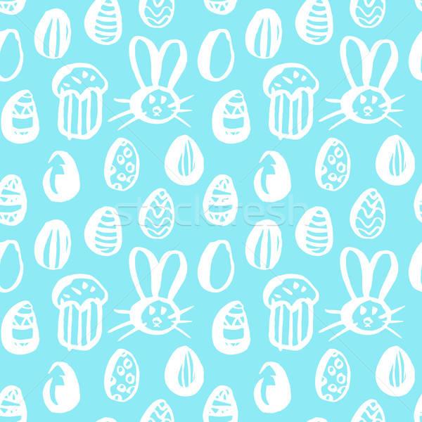 Trendi húsvét végtelen minta tavasz ünnep csempe Stock fotó © Anna_leni