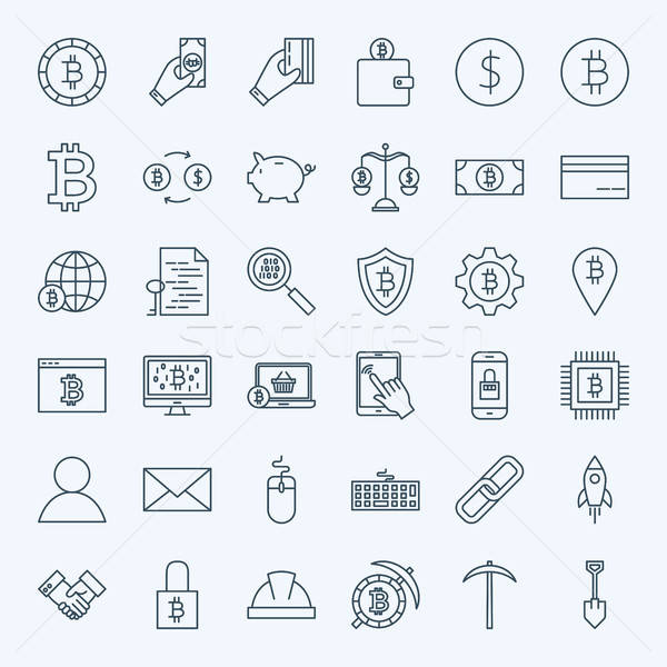 Line Cryptocurrency Icons Stock photo © Anna_leni