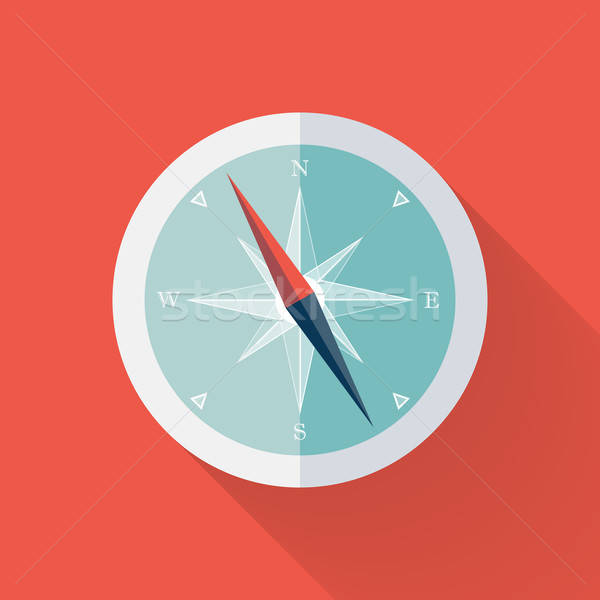 White Compass flat icon over red Stock photo © Anna_leni