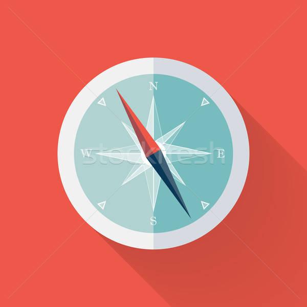 Biały kompas ikona czerwony tle internetowych Zdjęcia stock © Anna_leni