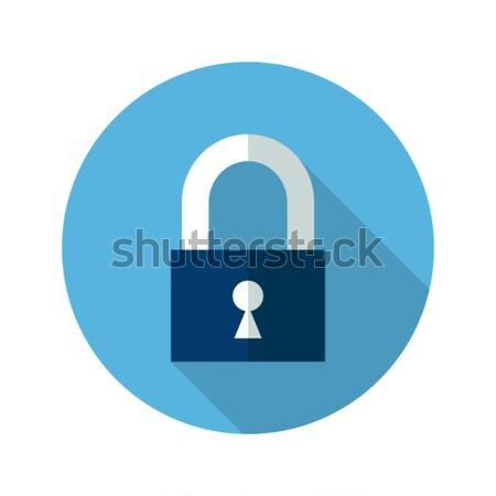Blue closed padlock icon Stock photo © Anna_leni