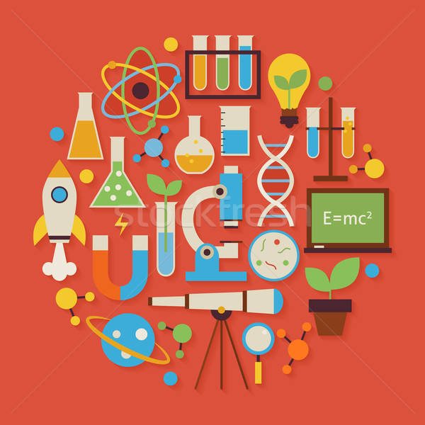 Science and Education Vector Flat Design Circle Shaped Objects S Stock photo © Anna_leni