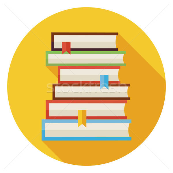 Flat Books with Bookmarks Circle Icon with Long Shadow Stock photo © Anna_leni