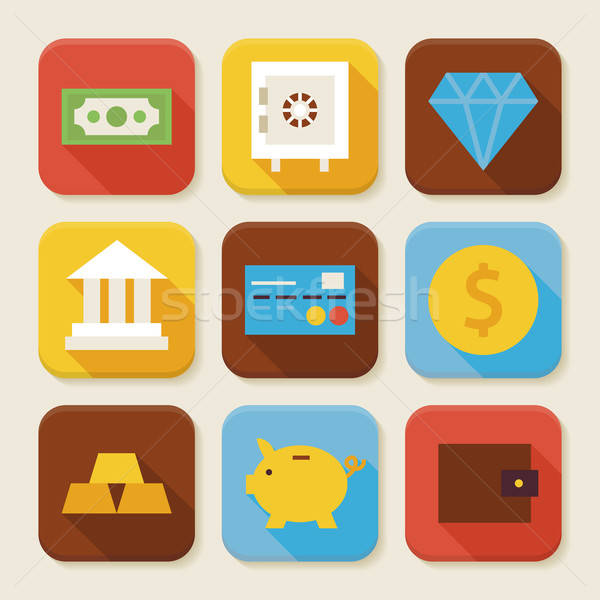 Flat Finance and Banking Squared App Icons Set Stock photo © Anna_leni