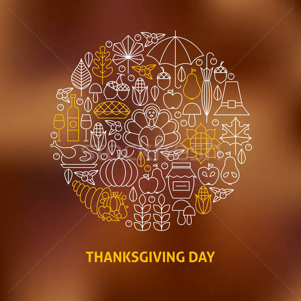 Thin Line Thanksgiving Day Holiday Icons Set Circle Shaped Conce Stock photo © Anna_leni