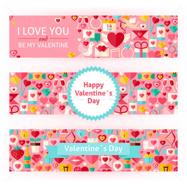 Happy Valentine Day Vector Template Banners Set Modern Flat Stock photo © Anna_leni
