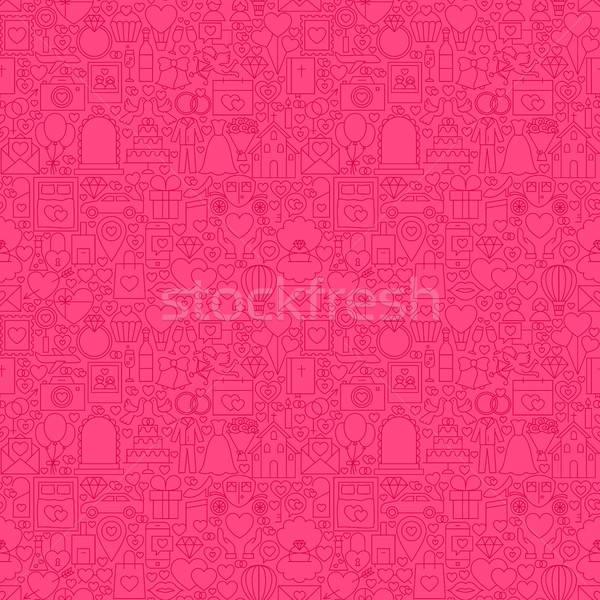 Pink Line Wedding Seamless Pattern Stock photo © Anna_leni