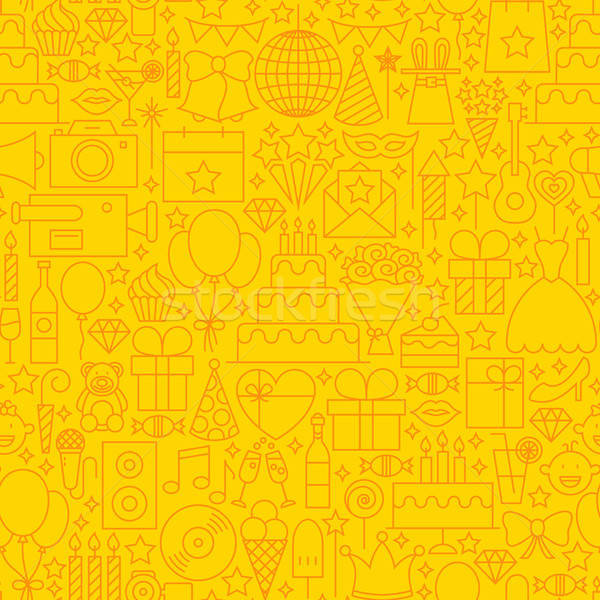 Birthday Yellow Line Tile Pattern Stock photo © Anna_leni