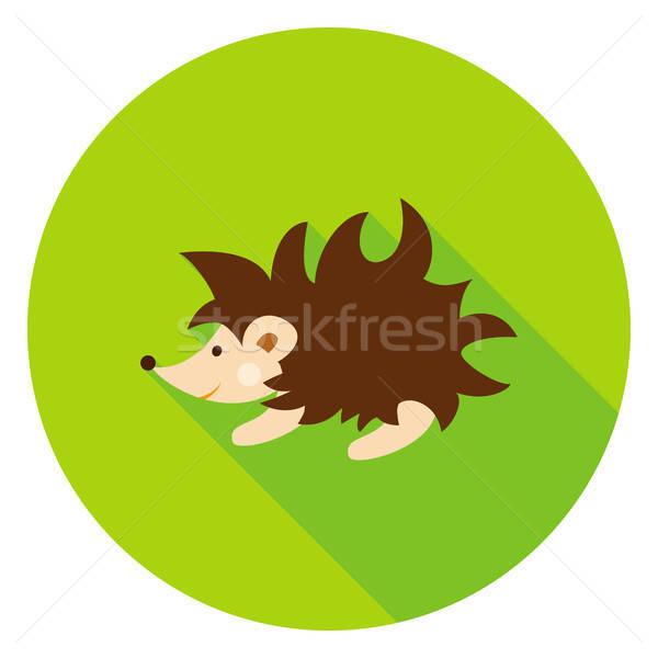 Sündisznó kör ikon erdő állat baba Stock fotó © Anna_leni