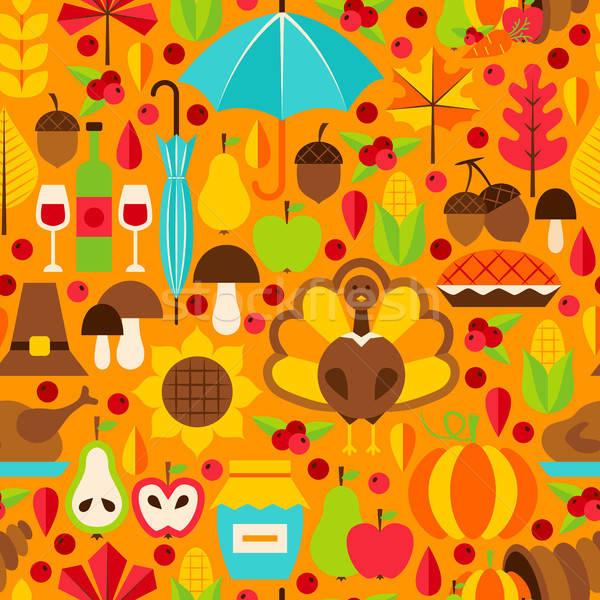 благодарение вектора осень праздник продовольствие Сток-фото © Anna_leni