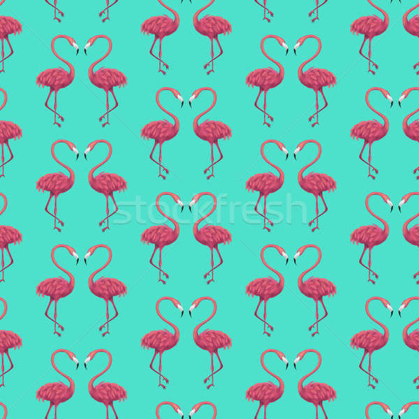 Flamingos Mint Seamless Pattern Stock photo © Anna_leni