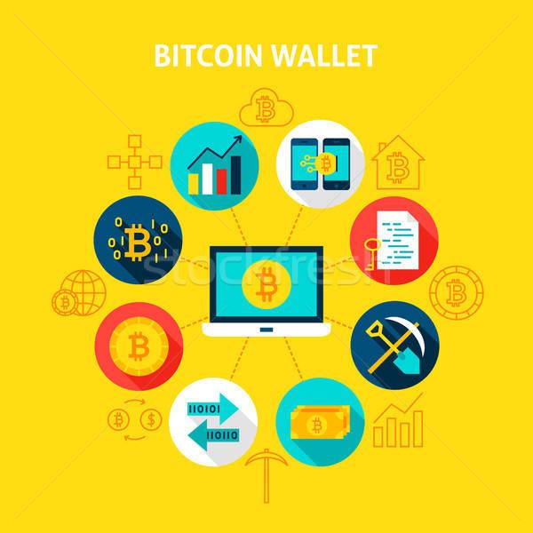Bitcoin pénztárca pénzügyi infografika kör ikonok Stock fotó © Anna_leni