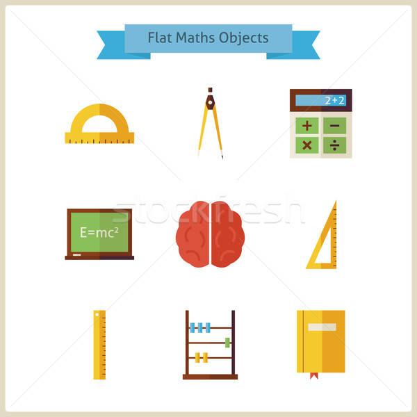Flat School Maths and Physics Objects Set Stock photo © Anna_leni
