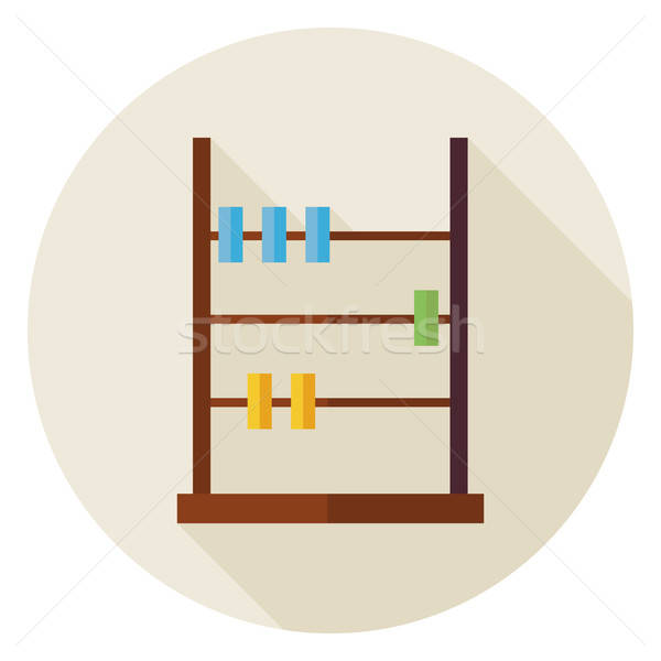 Flat Math Counter Abacus Circle Icon with Long Shadow Stock photo © Anna_leni