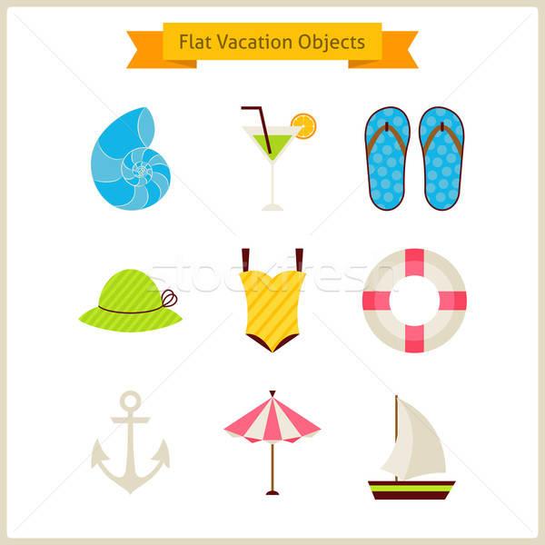 Foto stock: Vacaciones · de · verano · objetos · establecer · verano · vacaciones · colección