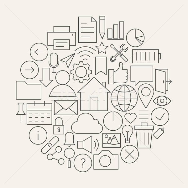 Universal Web and Mobile User Interface Line Icons Set Circular  Stock photo © Anna_leni