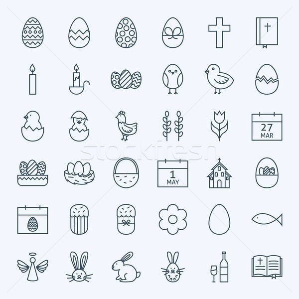 Line Happy Easter Holiday Icons Set Stock photo © Anna_leni