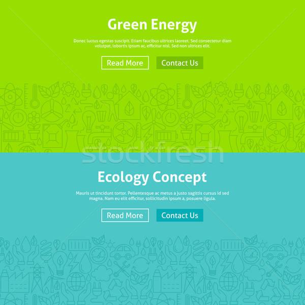 Ecology Green Energy Line Art Web Banners Set Stock photo © Anna_leni